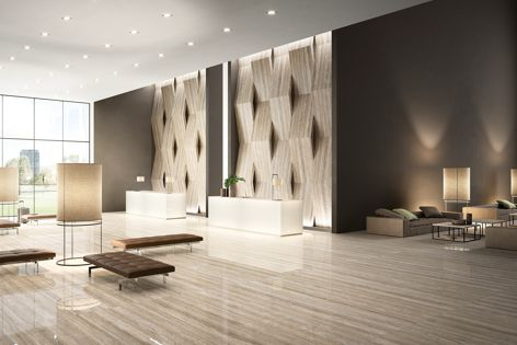 Large-format porcelain panels from Maximum Australia are now available in a new range of finishes, including Travertino (bottom) and White Iron, Zinc Titanium and Steel (top).