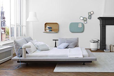 Ligne Roset's Maly bed includes a geometric central platform.