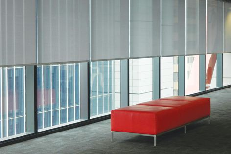 8 Chifley Square: integrated motorized roller blind control with user preference control.