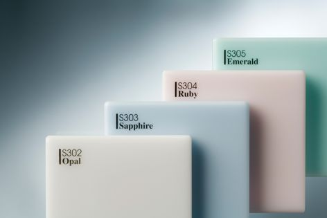 These four Gunnersen Hi-Macs Acrylic Solid Surfaces are translucent and can be backlit.