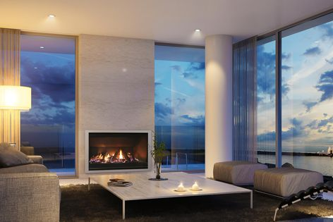 The efficient Escea AF960 gas fireplace has a large glass area for viewing the flames, and can be controlled by remote or a smart phone.