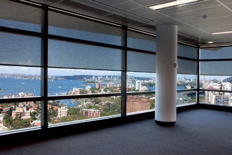 A Vertilux roller-blind system fitted with Euroscreen fabrics at North Sydney's Innovation Place.