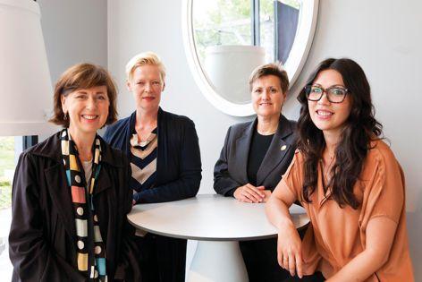 Sue Wittenoom, Geraldine Maher and Kate Langan with Artichoke editor Cassie Hansen. Photography: Jonathan Butler.