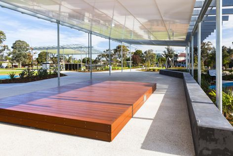 Part of the park's infrastructure is a custom timber stage with provision for electrical and audio services.