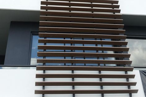An apartment block in West End, Brisbane features Futurewood's 140 mm × 25 mm EnviroSlat timber-look decorative cladding.