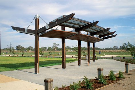 Landmark Products worked with a landscape architect to create this shelter in Melbourne.