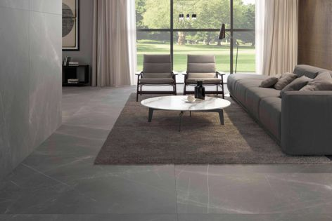 Artetech porcelain panels by Artedomus, pictured in 'Pietra Imperiale,' can be used for benchtops, flooring, walls and splashbacks.