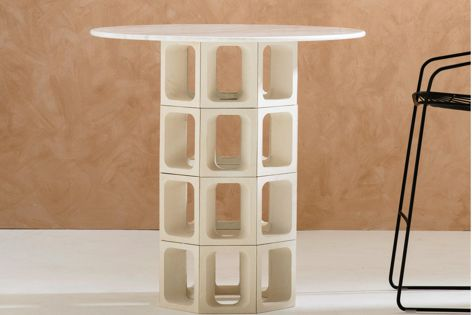 The Omni breeze block by Tom Fereday can be used to create coffee, dining and bar tables.