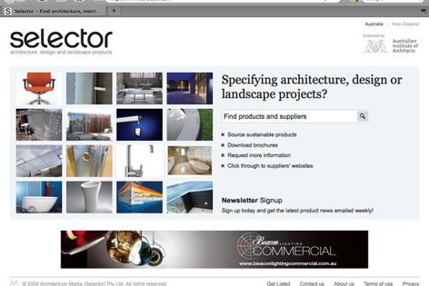 Looking for architectural products? Visit Selector