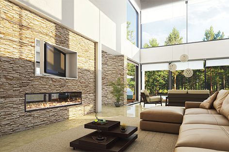 The DX1500 gas fireplace features new ducting technology that quietly distributes heat.
