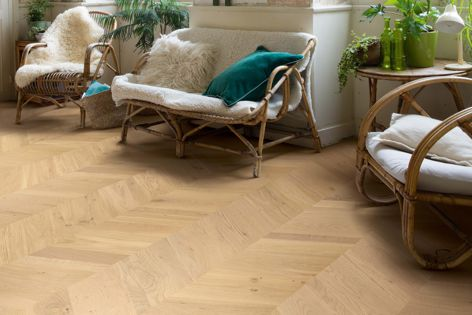 The prefinished planks in the Intenso chevron timber flooring range do not require sanding or oiling.
