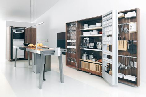 The Bulthaup b2 kitchen tool cabinet and stainless steel workbench.