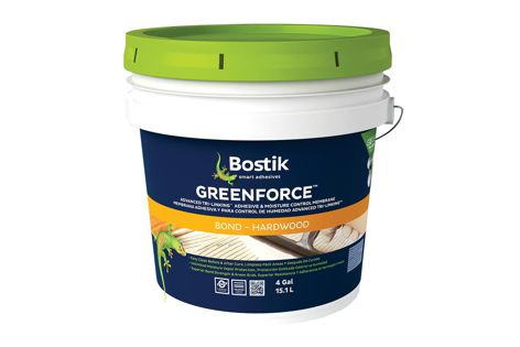 GreenForce is a two-in-one moisture vapour barrier and zero-VOC adhesive by Bostik.