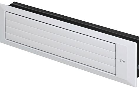 The slimline indoor unit by Fujitsu General has four airflow options and closes automatically.