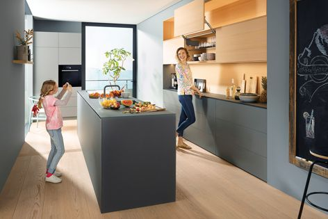 With Blum's cover cap designs, cabinet interiors can match fronts.