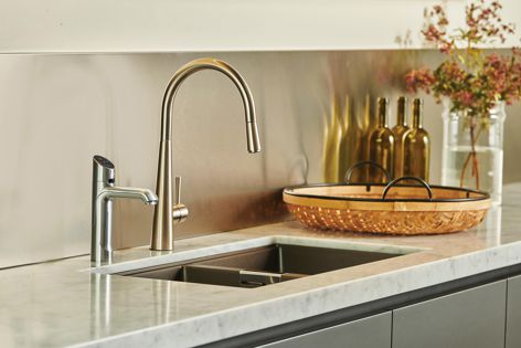 The tap is available in seven ultra-modern finishes.