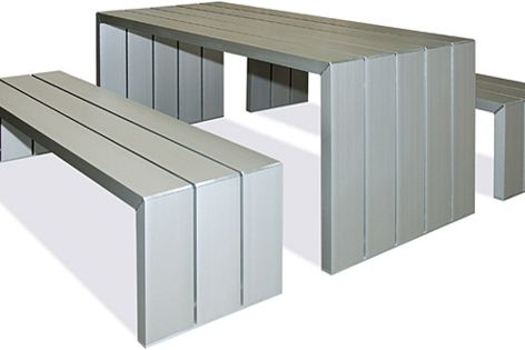 Multi-frame table URB:TBL X101 and bench URB:SAT X300, in clear-anodised aluminium.