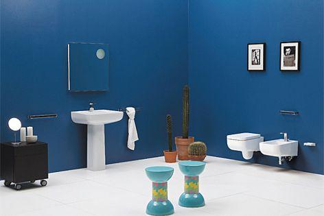 Basin with pedestal, wall-hung pan, wall-hung bidet, wall-faced pan and wall-faced bidet.