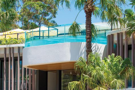 Bent toughened glass from Bent and Curved Glass was used for the pool at Bannisters Pavilion hotel in NSW.