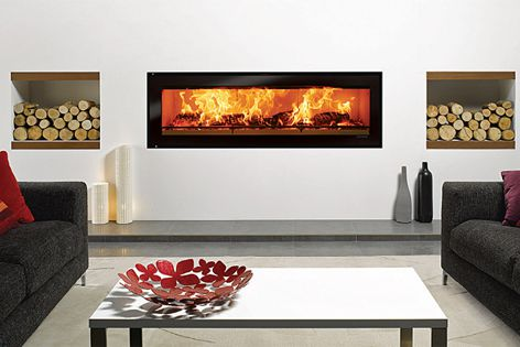 Stovax Riva Studio slow-combustion wood fires come as either inbuilt or freestanding units.