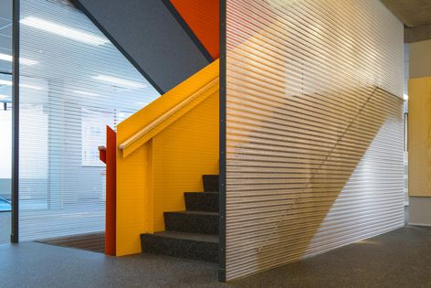 Kaynemaile mesh was used to create striking translucent balustrades in the retrofit of a Wellington office building. Architect: architecture+. Photography: Andy Spain.