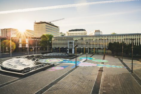 Graphic intervention at Civic Square by Jodie Cunningham.