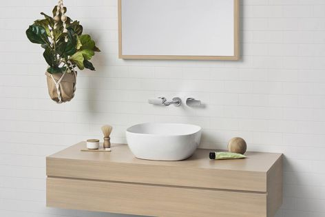 The 400 mm curved square basin is part of Caroma's new Artisan above-counter basin range.