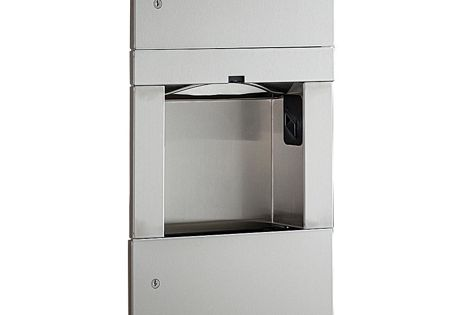 The new TrimLine Series 3-in-1 Unit combines a recessed paper towel dispenser, a hand dryer and a waste bin.