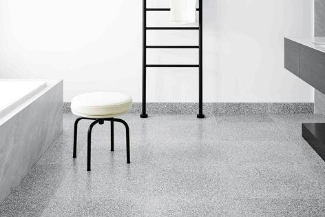 Bendigo Residence by Flack Studio features Fibonacci Stone's Storm terrazzo tiles.
