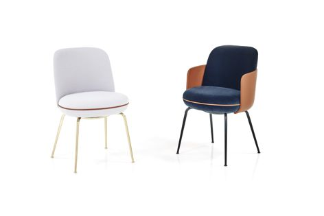 Wittmann's Merwyn chair is available with optional leather armrests. Photography: Gregor Titze.
