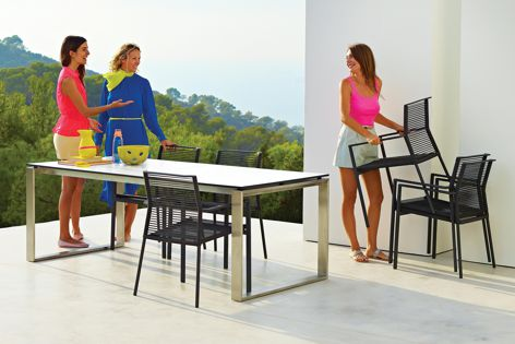 The items in the Edge furniture collection are UV resistant and can withstand harsh weather conditions.